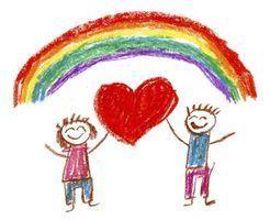Aula pré-escolar planeja com arco-íris